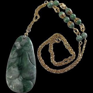 14k Gold Fruit Floral Carved Jade Jadeite Necklace Large c1960