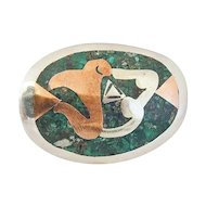 Modernist TAXCO STERLING Silver Malachite Brooch Pendant Signed