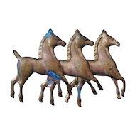 Brass Running Horses Brooch Folk Art Style