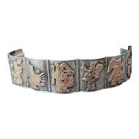 Heavy Silver Paneled AZTEC Bracelet by 63g Vintage