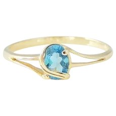 Blue Topaz Ring 14k Gold Wrapped Setting