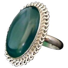 Green CHRYSOPRASE Sterling Silver Ring 8.5 cts