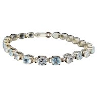 White Blue TOPAZ Tennis Bracelet Sterling Silver 10 ctw