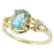 Blue Topaz 14k Gold Diamond Accent Ring