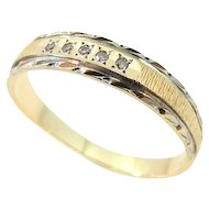 Wedding Band Ring Diamond Accents 14k Gold