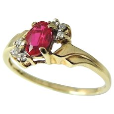 Ruby Diamond Ring 10k Gold Delicate Setting Perfect Gift