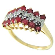 RUBY Diamond Ring 10k Gold  .94 ctw