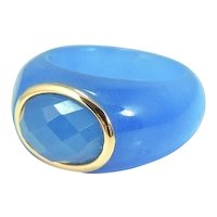 Periwinkle Blue Jade 14k Gold Ring Bold
