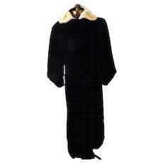 Black Velvet Opera Coat Bracelet Length Sleeves Fur Collar OUTSTANDING