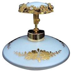 Vintage IRICE Jeweled Perfume Bottle Cased Glass Gilt Florals