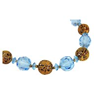 Deco Czech Glass Filigree Bead Necklace Blue Faceted