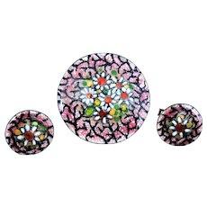 Enamel Women's Cufflinks Brooch Set Flowers Mid Century