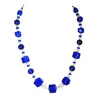Royal Blue Czech Glass Crystal Necklace Deco