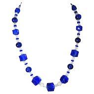 Royal Blue Czech Glass Crystal Necklace Deco
