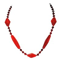 Deco Red Czech Glass Bead Crystal Necklace Choker