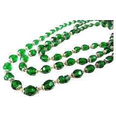 Deco Emerald Green Czech Glass Crystal Bead Necklace LONG 57 inch