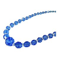 Czech Crystal Bead Necklace Cornflower Blue Deco