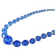 Czech Crystal Bead Necklace Cornflower Blue Deco