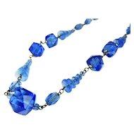 Art Deco Czech Glass Bead Necklace Interesting Shapes