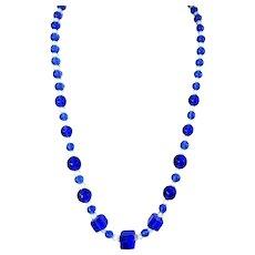 Deco Royal Blue Czech Glass Bead Necklace