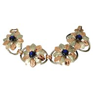 Kreisler Blue Moon Glow Flower Bracelet Two Tone BIG Bold 1940s