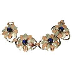 Kreisler Blue Moon Glow Flower Bracelet Two Tone BIG Bold 1940s