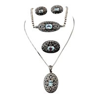 Blue Topaz Marcasite Necklace Set 4 pc Victorian Revival Sterling Silver