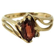 Garnet Gemstone Ring 10k Gold Diamond Accents January Birthstone