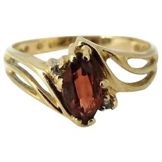 Garnet Gemstone Ring 10k Gold Diamond Accents January Birthstone