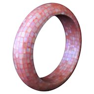 Vintage Pink Mosaic Shell Bangle Bracelet c1970s