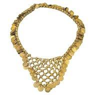 Massive Cleopatra Coin Bib Tassel Necklace 29.5 inch Adjustable WOW c1970s