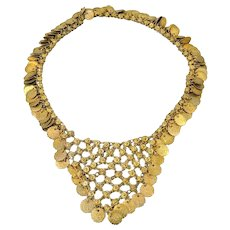 Massive Cleopatra Coin Bib Tassel Necklace 29.5 inch Adjustable WOW c1970s
