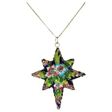 Vintage Porcelain Enamel Star Pendant Ornament c1920-30 Hand Painted Raised Applied Gilt MUST SEE