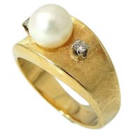 14k Gold Pearl and Diamond Wide Band Ring Signed Vintage 1950s