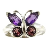 14k Amethyst Butterfly Ring w Pink Zircon White Gold