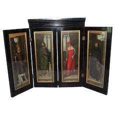 """Antique Hans Memling Polyptych Victorian """"PASSION"""" Altarpiece Shrine Chromolithographs Nearly 3 ft Tall"""