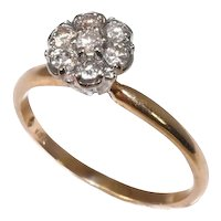 Vintage Diamond Cluster Ring 14k Gold High Profile