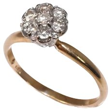Vintage Diamond Cluster Ring 14k Gold High Profile