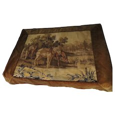 Victorian Horses Tapestry Velvet Border Double Backed Handiwork
