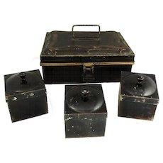 Antique Tole Spice Box Caddy 6 Boxes Great Kitchen Decor
