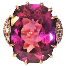 Synthetic Color Change Alexandrite 22ct 10K Statement Ring