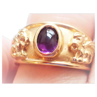 Amethyst Cabochon Griffin Gryphon Signet Style Ring 14K