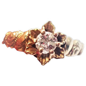 Buttercup Motif Old Cut Diamond Solitaire 14K Ring