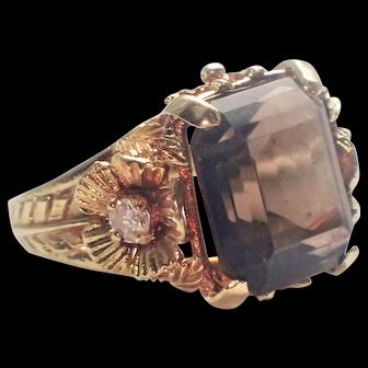 Corletto Smoky Quartz Diamond 18K Statement Ring