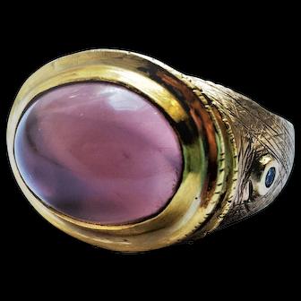 Huge Artisan Dome 9.27CT Rose Quartz Cabochon 14-16K Diamond Statement Ring