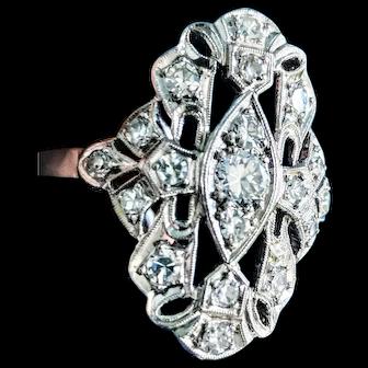 Big Old Cut Diamond Platinum Filigree Dinner Ring