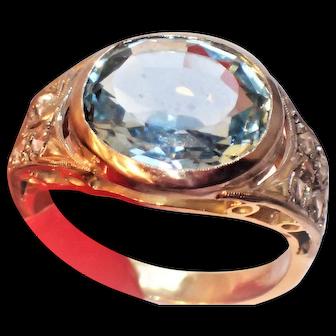 5Ct Natural Aquamarine Rose Cut Diamond 18K Statement Ring