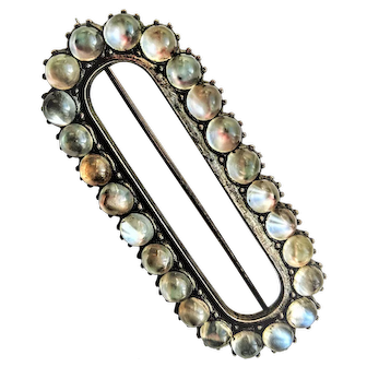 Large Silver and Moonstone Buckle Pin Brooch