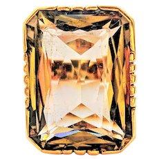 42CT Champagne Smoky Quartz 19K Rose Gold Large Statement Ring
