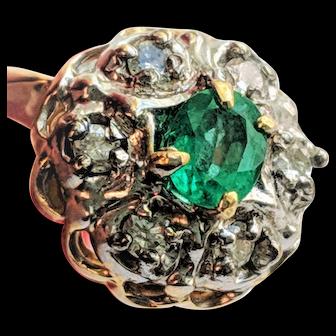 Emerald Diamond Cluster Ring 14K May Birthstone